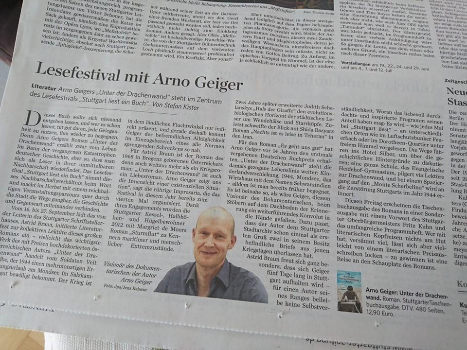 Stuttgart liest ein Buch in der Stuttgarter Zeitung