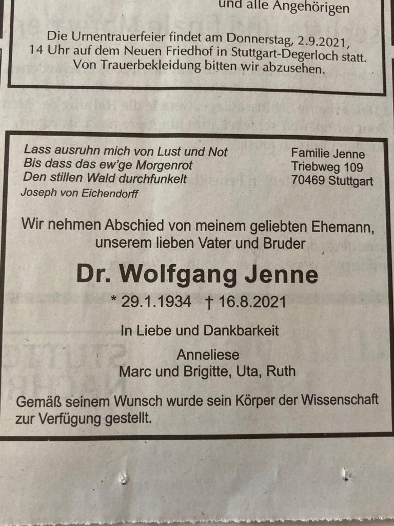 Wolfgang Jenne verstorben